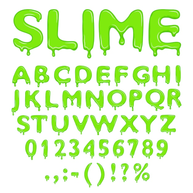 Slime alphabet numbers and symbols Premium Vector