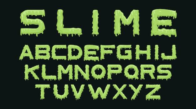 Slime alphabet typography set Free Vector