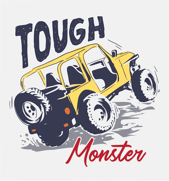 Slogan with cartoon four wheels truck illustration Premium Vector