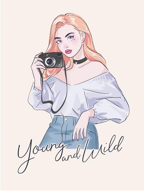 Slogan with cartoon girl and camera Premium Vector