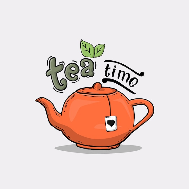 Slogan with teapot illustration Premium Vector