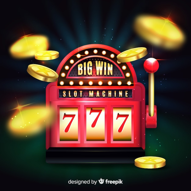 Slot machine big win concept in realistic style Free Vector