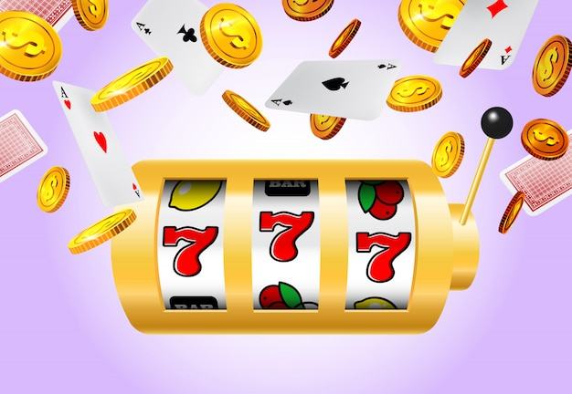 Slot machine, flying golden coins and aces on purple background. Free Vector