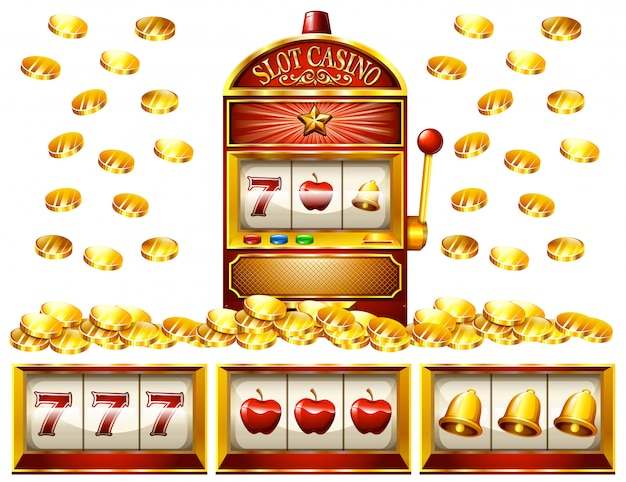 Slot machine and golden coins Premium Vector