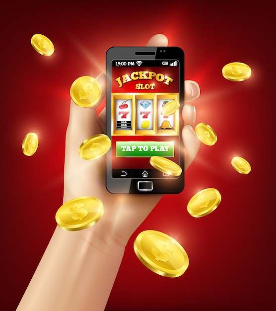 Slot machine mobile app 3d illustration Free Vector