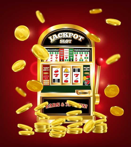 Slot machine poster Free Vector