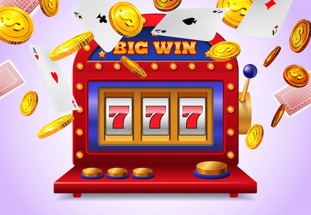 Slot machine with big win lettering flying playing cards and golden coins 1262 13164