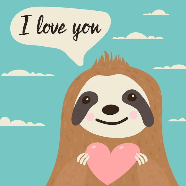 Sloth character in love with heart in hands Premium Vector