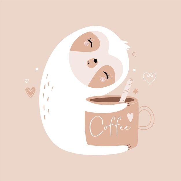 Sloth and coffee mug with lettering. trendy flat style. pastel colored illustration. Premium Vector