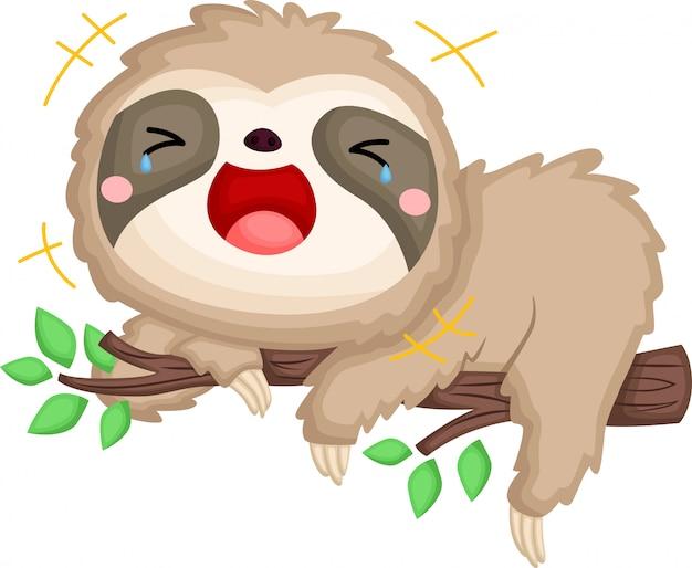 Una specie di bradipo che ride a crepapelle Vettore gratuito