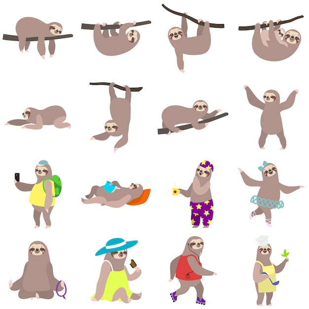 Sloth set, flat style Premium Vector