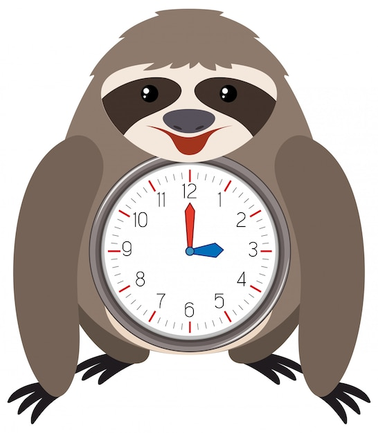 Sloth themed clock white background Free Vector