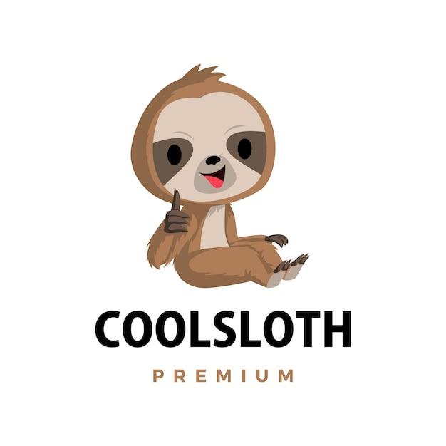 マスコットキャラクターロゴアイコンイラストをナマケモノ親指 Premiumベクター
