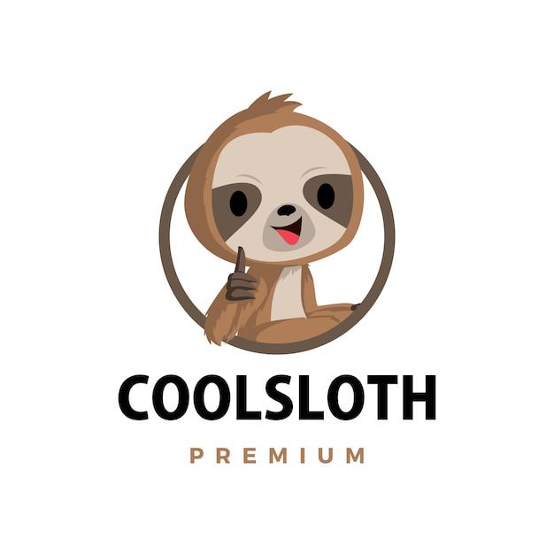 Ленивец большой палец вверх талисман персонаж логотип значок иллюстрации Premium векторы
