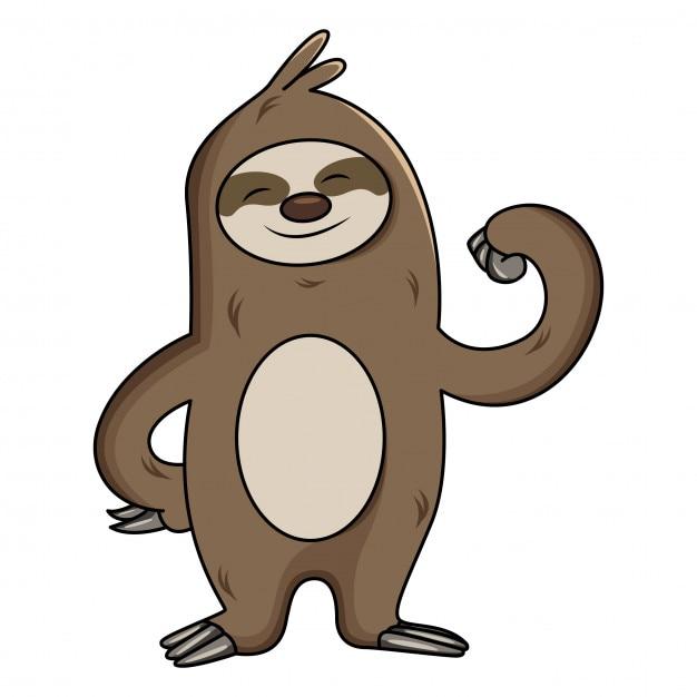 Slothの漫画のイラストは彼の腕の筋肉を示しています ベクター画像