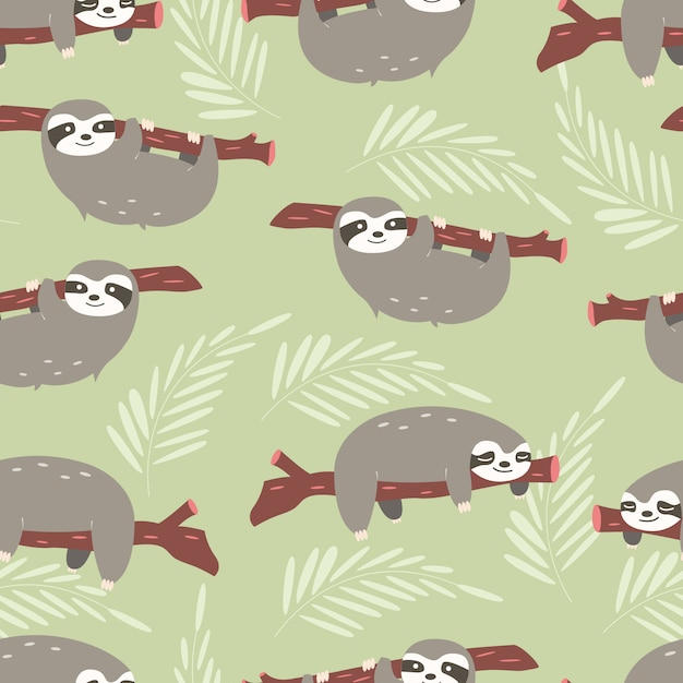 Sloths pattern design Free Vector