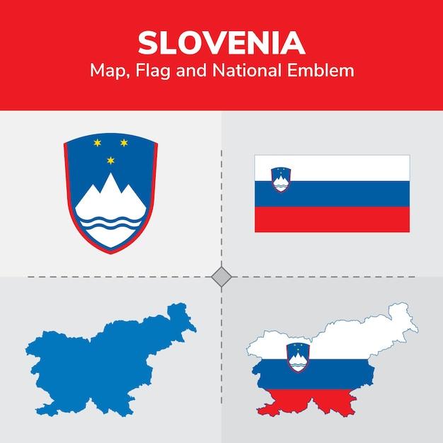 Slovenia Map Flag And National Emblem Vector Premium Download - Slovenia map download