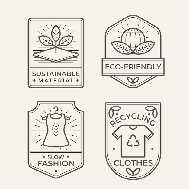 Collezione di badge moda lenta Vettore gratuito