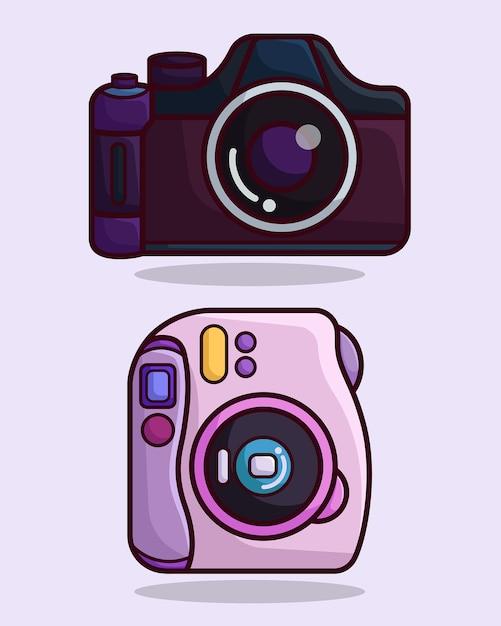 Slr and instant camera Premium Vector