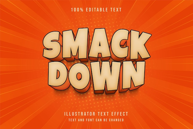 Smack down,3d editable text effect cream gradation orange shadow comic text style Premium Vector