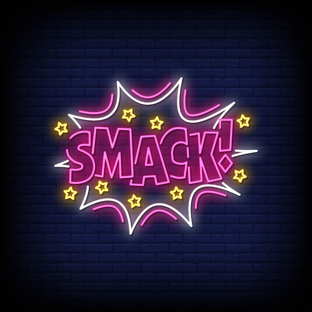 Smack neon signs style text vector Premium Vector