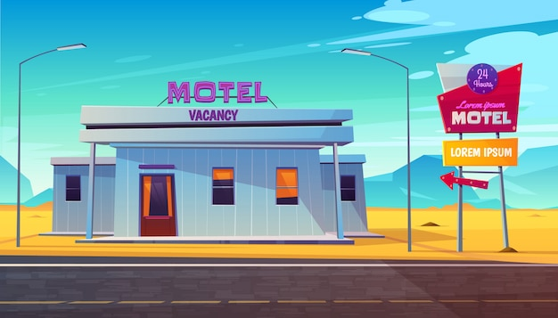 Small, 24 hours, roadside motel building with illuminated road sign near highway Free Vector