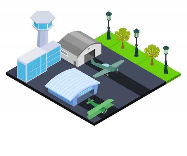 Small airport concept banner, isometric style Premium Vector