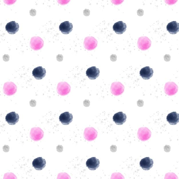 大小の水彩ドッティシームレスパターン 無料ベクター