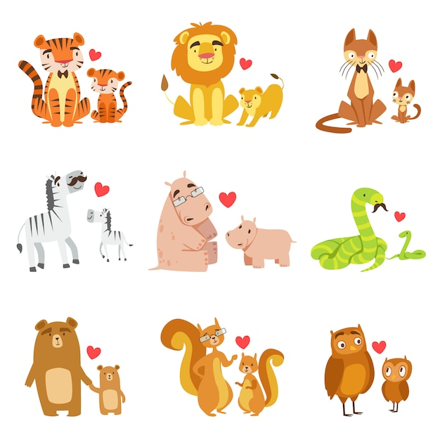 Small animals and their dads illustration set Premium Vector