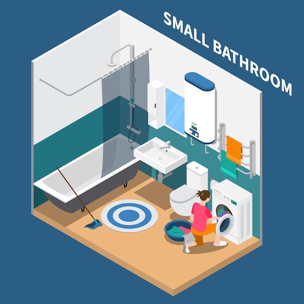 Composizione isometrica piccolo bagno Vettore gratuito