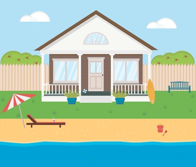 Small beach house. shore of sea, river, lake. summer theme. wooden building for vacation. cozy residential house. Premium Vector