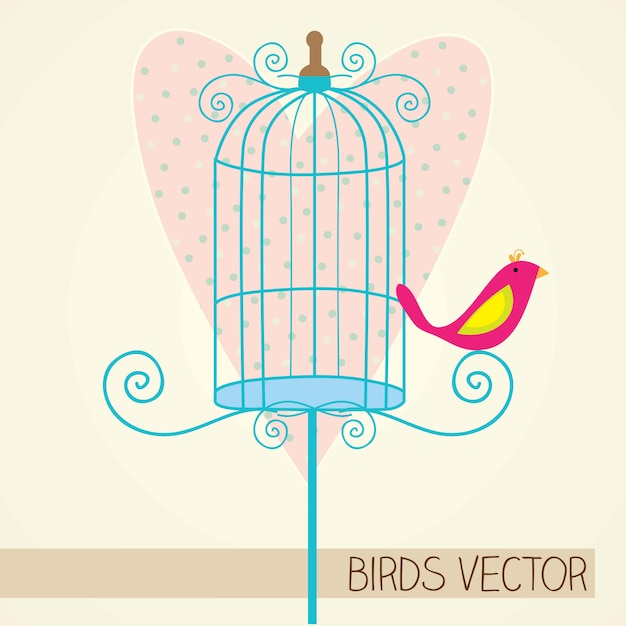 Small bird with blue cage and heart background Premium Vector