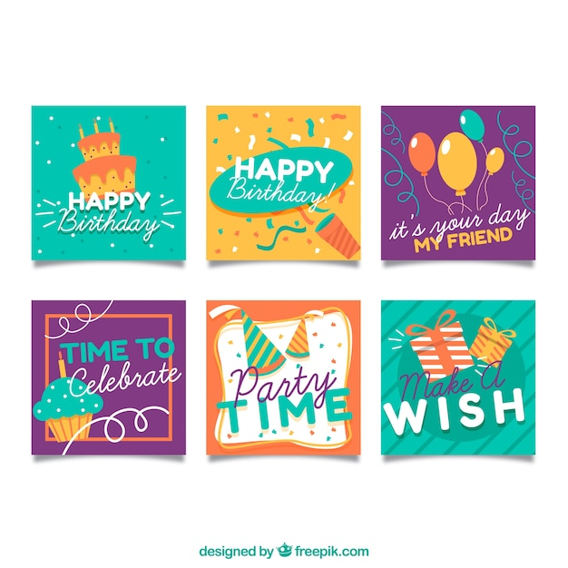 Small birthday cards collection Vector – Birthday Card Collection