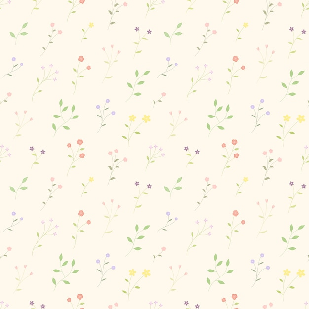 Small bloom flowers colorful seamleass pattern  background Premium Vector