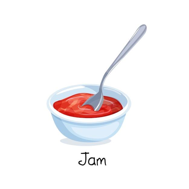 Маленькая миска с вареньем из красных ягод, концепция питания. Premium векторы