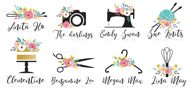 Small business floral logo template set Premium Vector