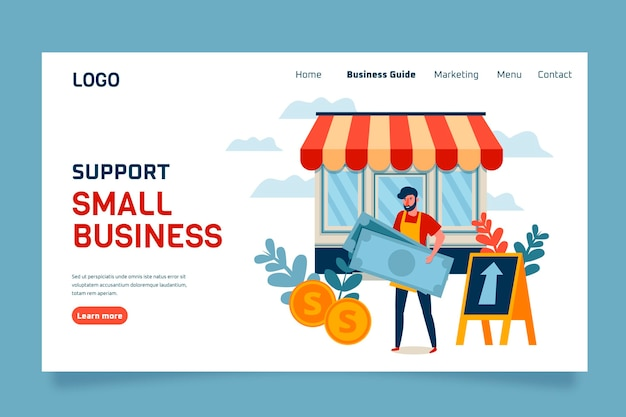 Modello di pagina di destinazione per piccole imprese Vettore gratuito