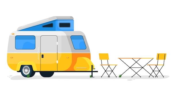 Небольшой кемпинговый прицеп. дом на колесах для кемпинга со столом и стульями для кемпинга. автоприцеп для перевозки в путешествиях и отпуске Premium векторы