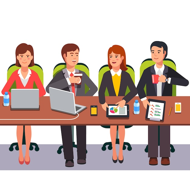 Small collaboration team working together Free Vector