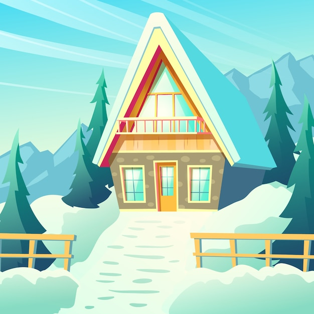 Small cottage house, comfortable chalet in snowy mountains, winter resort bungalow exterior with stone walls Free Vector