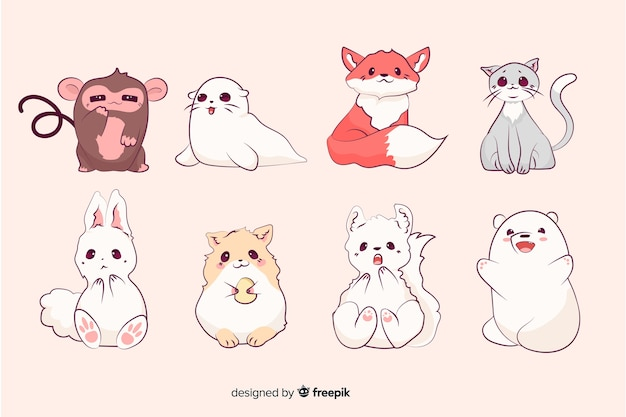 Small cute cartoon animals collection Free Vector