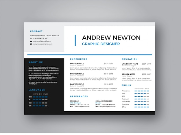 small cv template vector