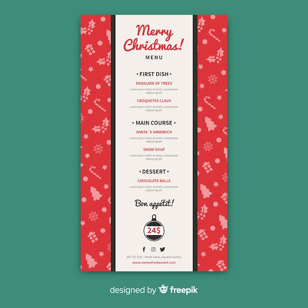 small elements christmas menu template vector free download