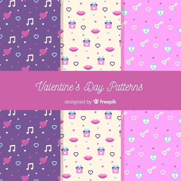 Small elements valentine patterns Free Vector