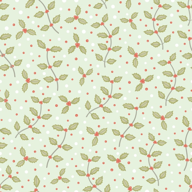 Small holly tree branch and snow seamless pattern vector background Premium Vector