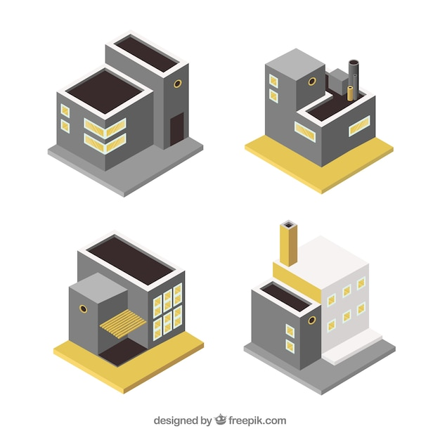 Small isometric industrial buildings
