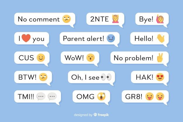 Small messages with emojis Free Vector