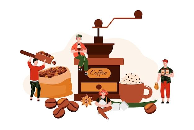 Маленькие миниатюрные люди изображают рабочих в кафе, собирающих зерна и обжаривающих их для приготовления кофе Premium векторы