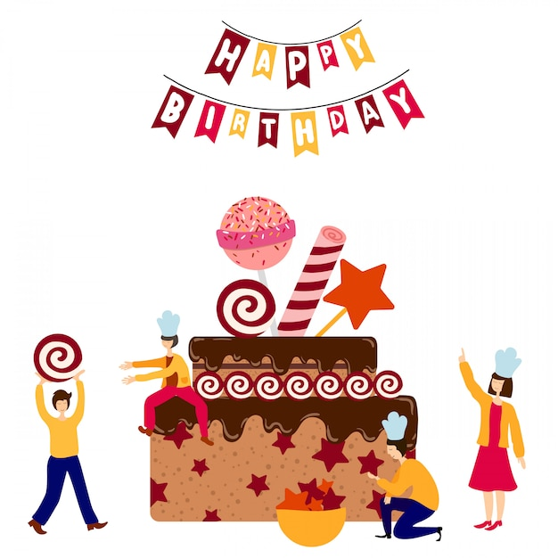Cool Small People Together Decorating Giant Birthday Cake Premium Vector Funny Birthday Cards Online Fluifree Goldxyz