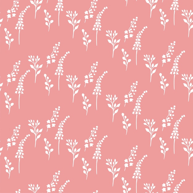 Small plants pink pattern Premium Vector